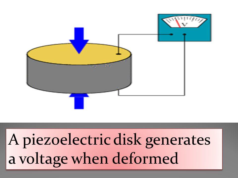A piezoelectric disk generates a voltage when deformed