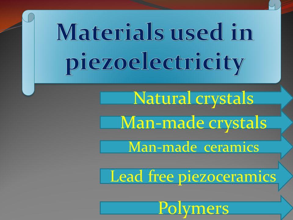 Natural crystals Man-made crystals Man-made ceramics Lead free piezoceramics Polymers