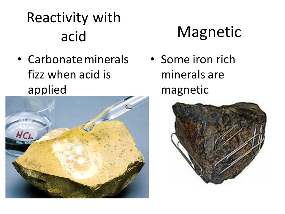 Reactivity with acid Carbonate minerals fizz when acid is applied Magnetic Some iron rich minerals are magnetic
