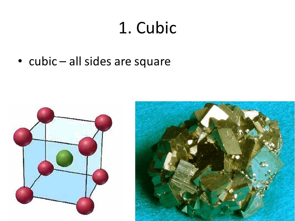 1. Cubic cubic – all sides are square