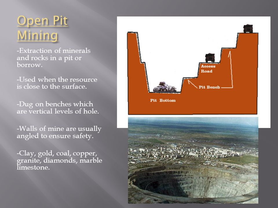 Open Pit Mining -Extraction of minerals and rocks in a pit or borrow.