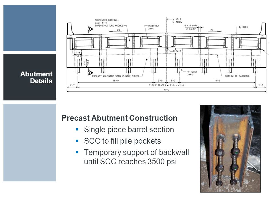 Abutment Details Precast Abutment Construction  Single piece barrel section  SCC to fill pile pockets  Temporary support of backwall until SCC reaches 3500 psi