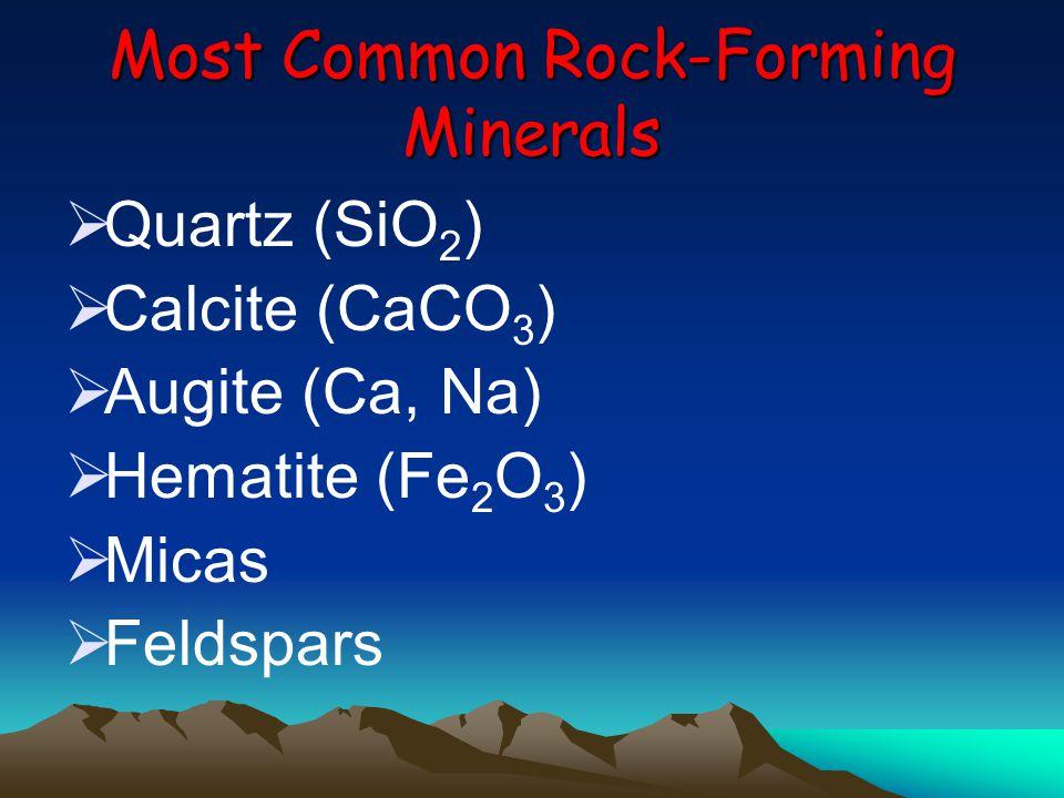 Most Common Rock-Forming Minerals  Quartz (SiO 2 )  Calcite (CaCO 3 )  Augite (Ca, Na)  Hematite (Fe 2 O 3 )  Micas  Feldspars