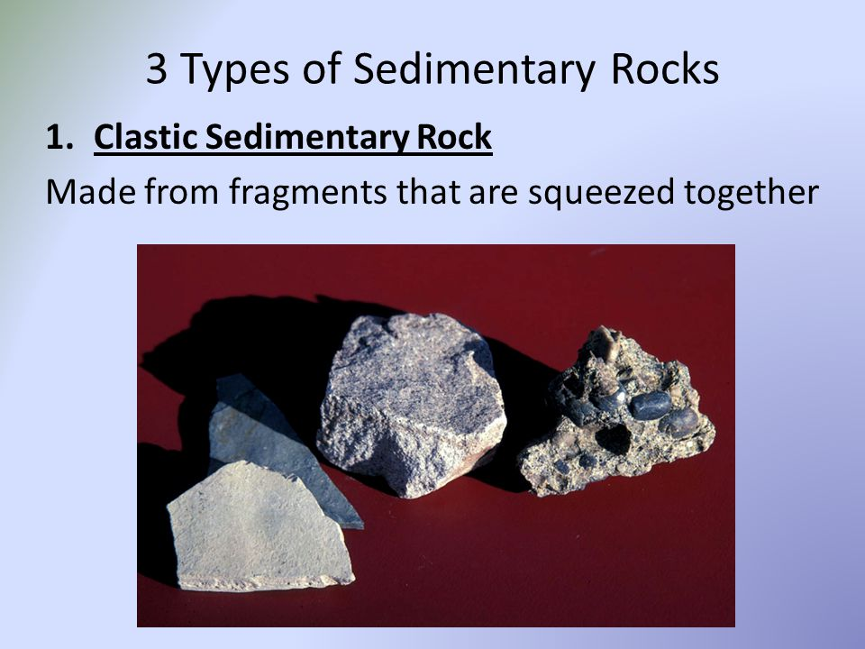3 Types of Sedimentary Rocks 1.Clastic Sedimentary Rock Made from fragments that are squeezed together