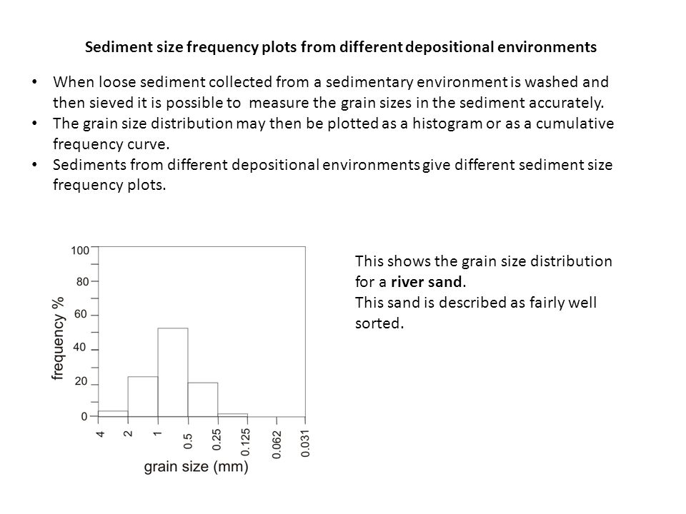 Sediment size frequency plots from different depositional environments When loose sediment collected from a sedimentary environment is washed and then sieved it is possible to measure the grain sizes in the sediment accurately.
