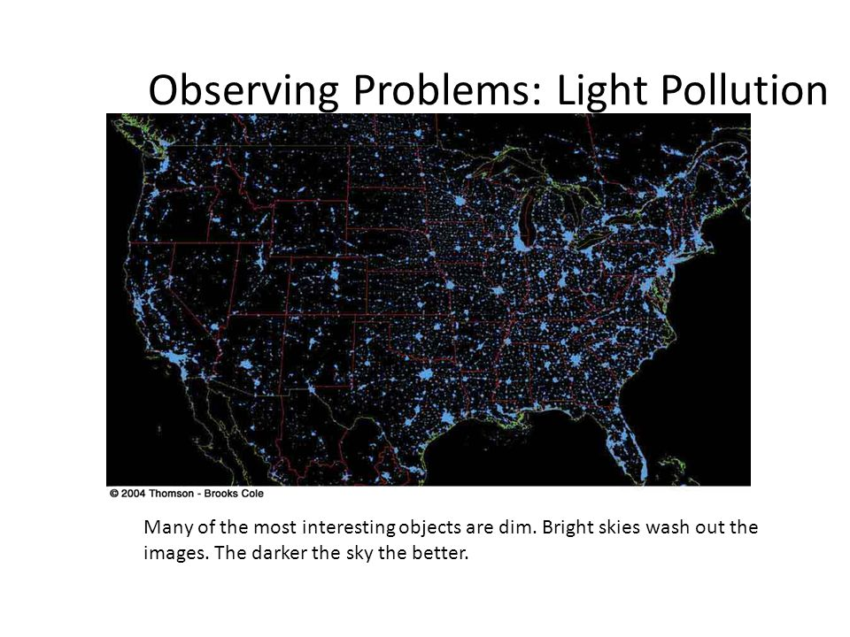 Observing Problems: Light Pollution Many of the most interesting objects are dim. Bright skies wash out the images. The darker the sky the better.