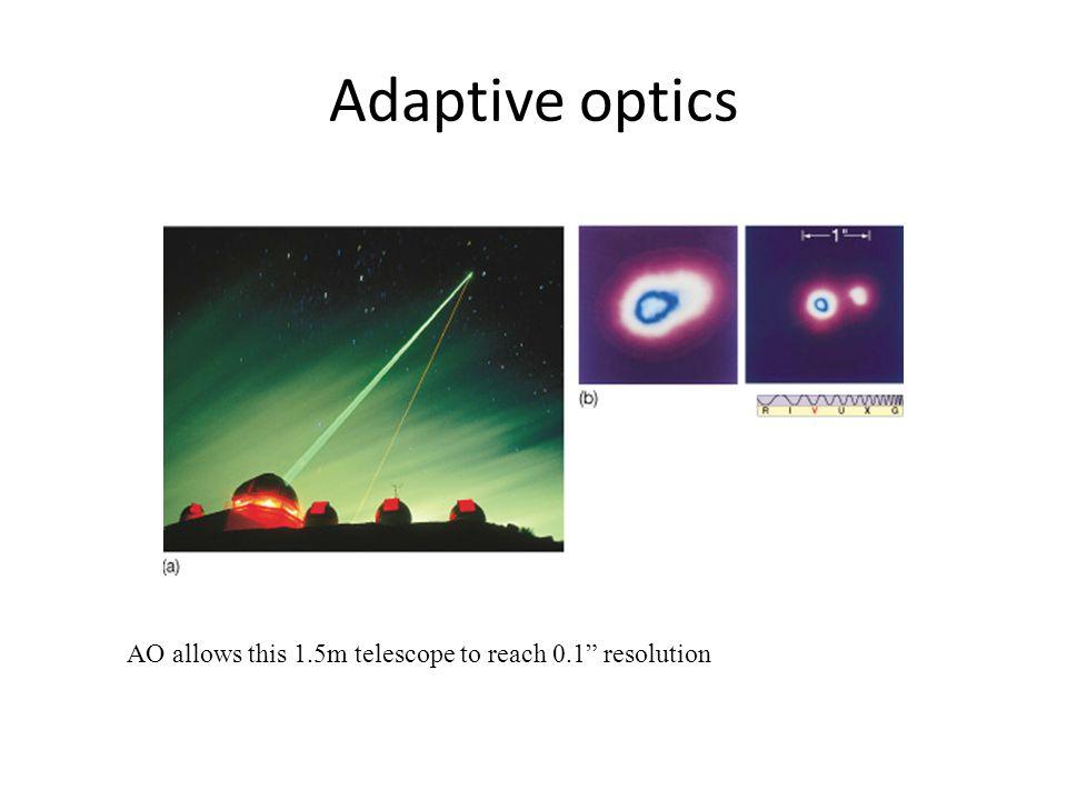 "Adaptive optics AO allows this 1.5m telescope to reach 0.1"" resolution"