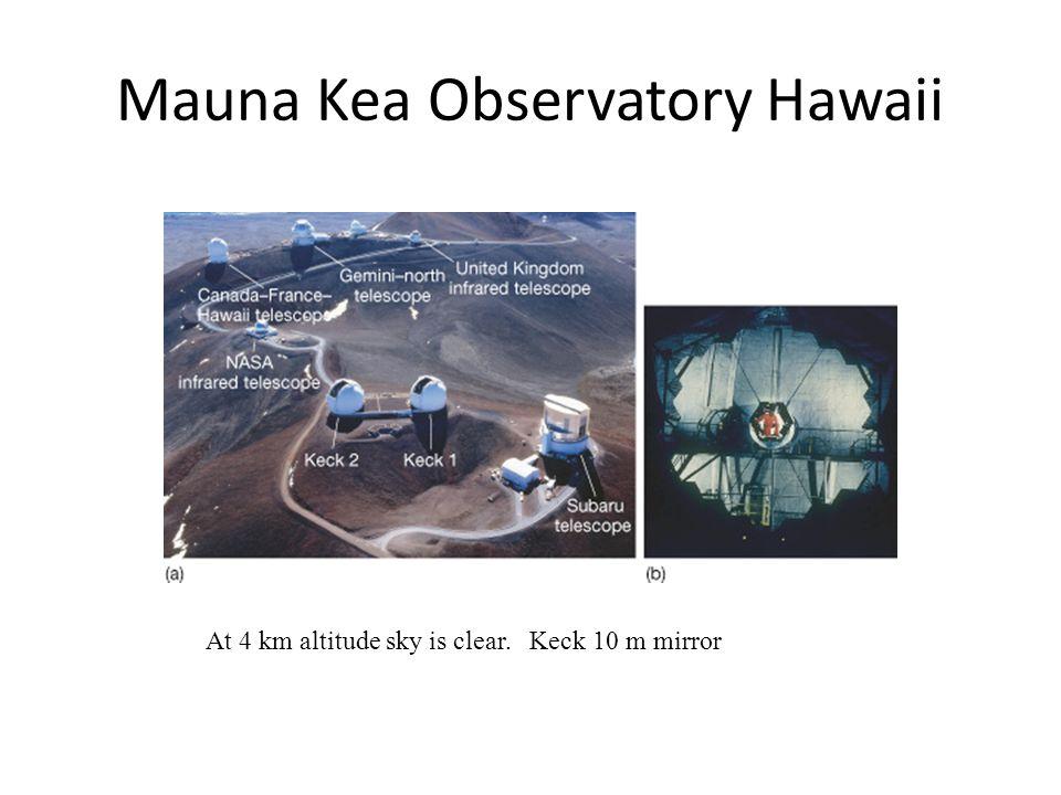 Mauna Kea Observatory Hawaii At 4 km altitude sky is clear. Keck 10 m mirror