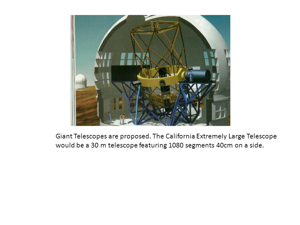 Plans Giant Telescopes are proposed. The California Extremely Large Telescope would be a 30 m telescope featuring 1080 segments 40cm on a side.