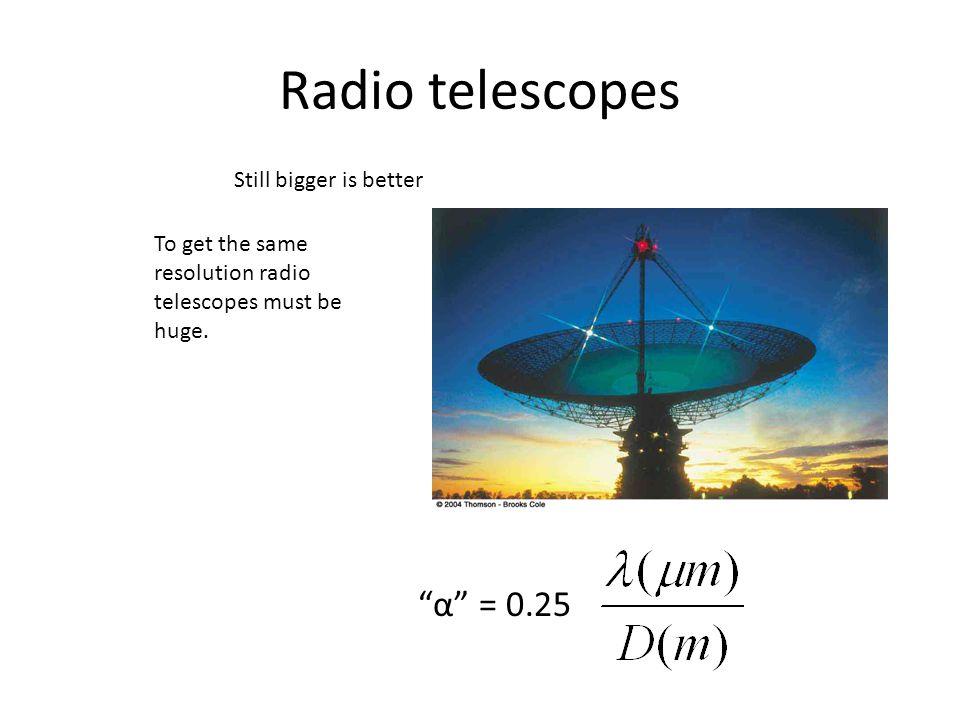"Radio telescopes Still bigger is better ""α"" = 0.25 To get the same resolution radio telescopes must be huge."
