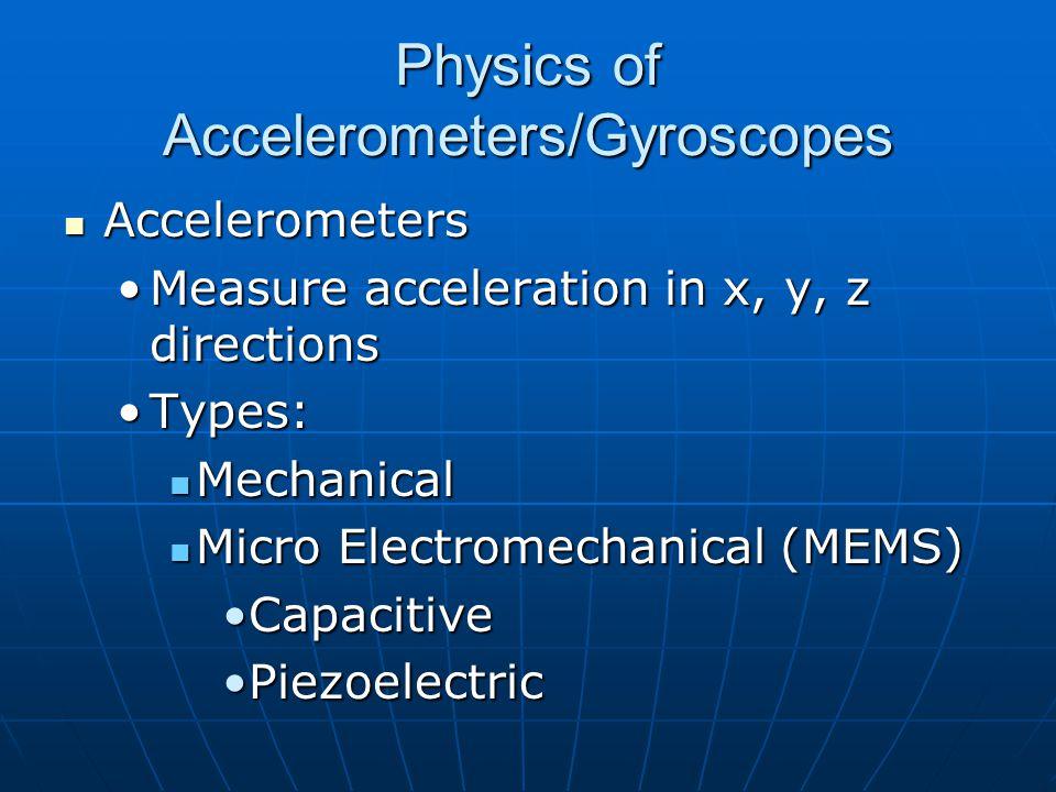 Physics of Accelerometers/Gyroscopes Accelerometers Accelerometers Measure acceleration in x, y, z directionsMeasure acceleration in x, y, z directions Types:Types: Mechanical Mechanical Micro Electromechanical (MEMS) Micro Electromechanical (MEMS) CapacitiveCapacitive PiezoelectricPiezoelectric