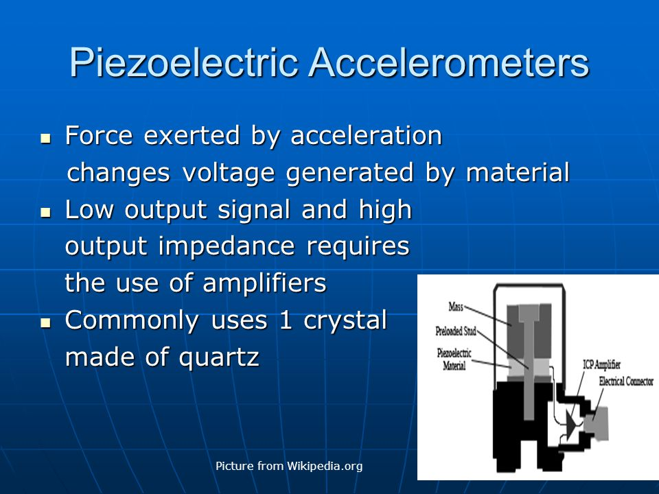 Piezoelectric Accelerometers Force exerted by acceleration Force exerted by acceleration changes voltage generated by material changes voltage generat
