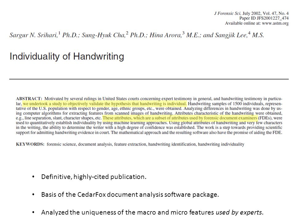 Definitive, highly-cited publication. Basis of the CedarFox document analysis software package.