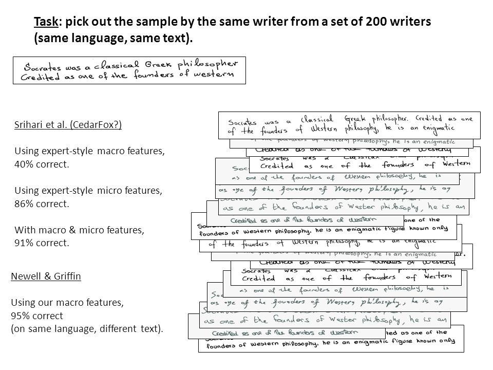 Task: pick out the sample by the same writer from a set of 200 writers (same language, same text).