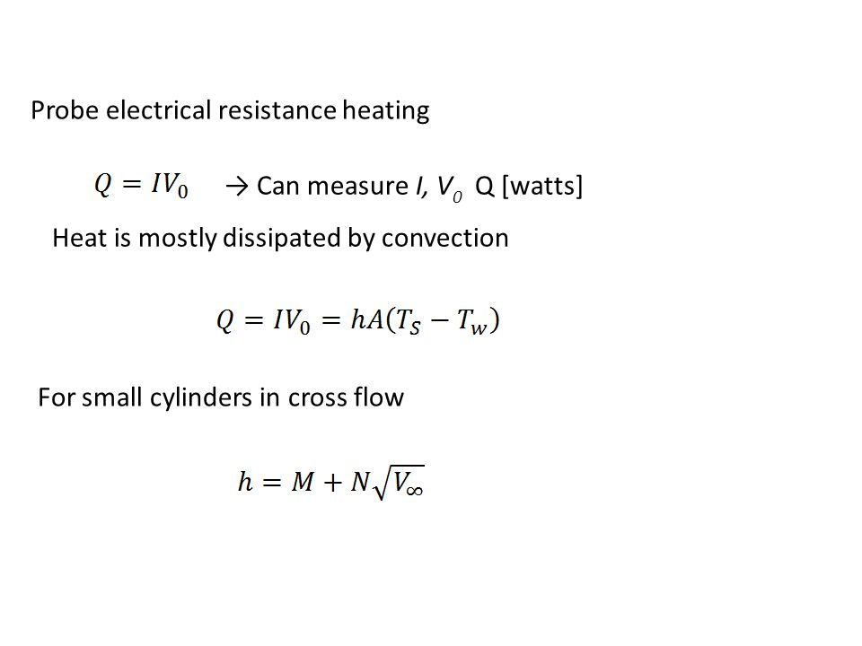 Probe electrical resistance heating → Can measure I, V 0 Q [watts] Heat is mostly dissipated by convection For small cylinders in cross flow