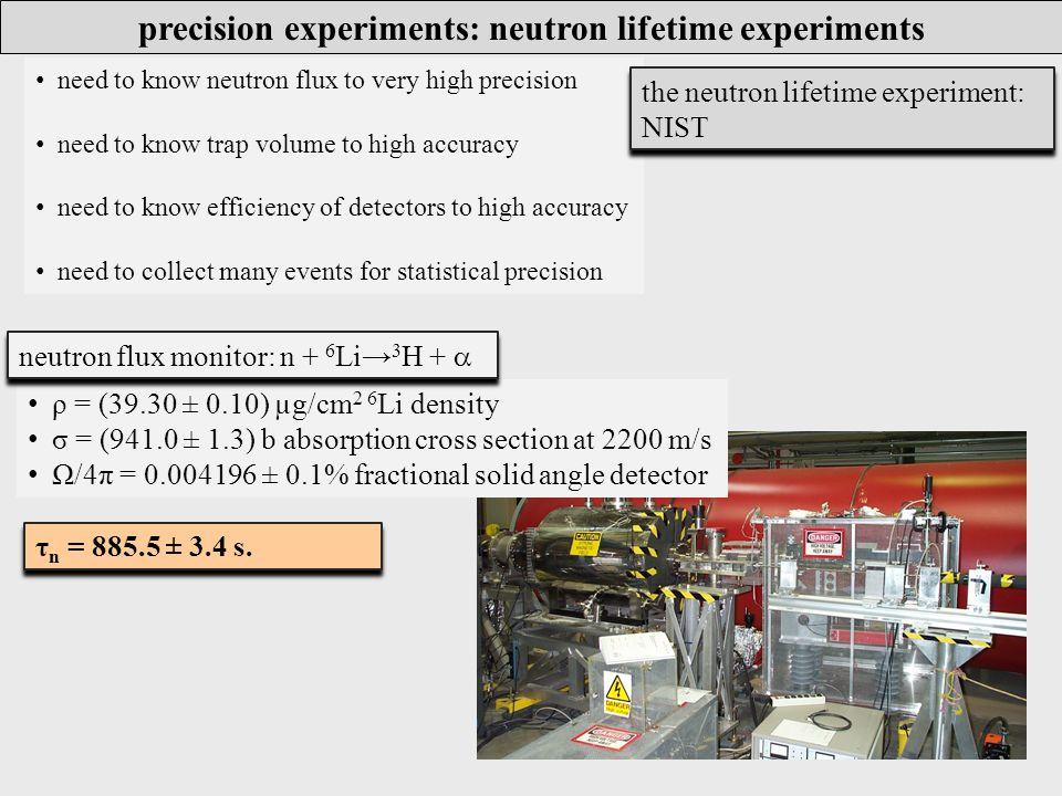 τ n = 885.5 ± 3.4 s. need to know neutron flux to very high precision need to know trap volume to high accuracy need to know efficiency of detectors t