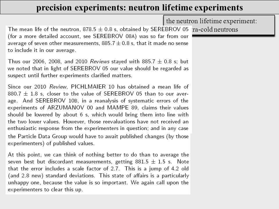 the neutron lifetime experiment: stored ultra-cold neutrons precision experiments: neutron lifetime experiments