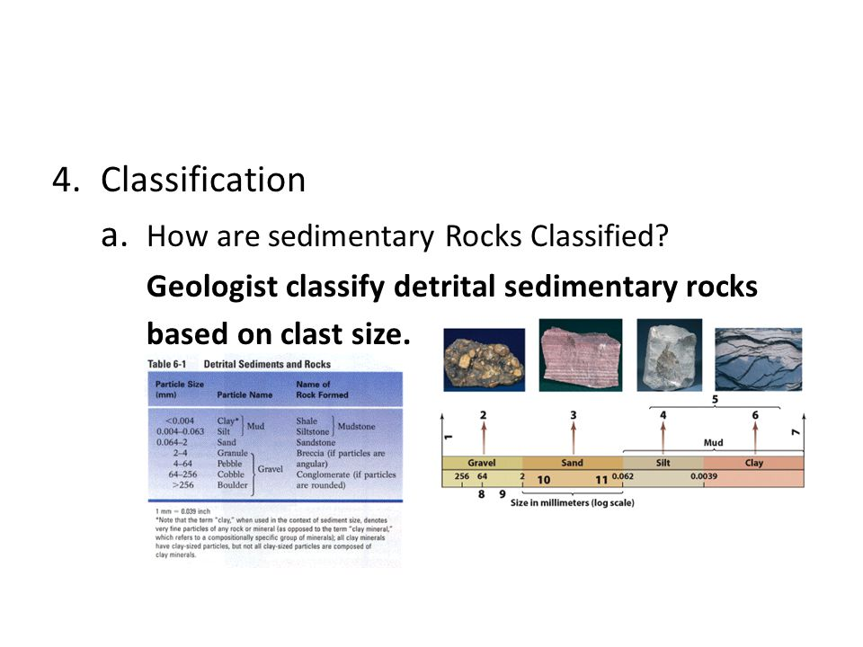 4.Classification a. How are sedimentary Rocks Classified? Geologist classify detrital sedimentary rocks based on clast size.