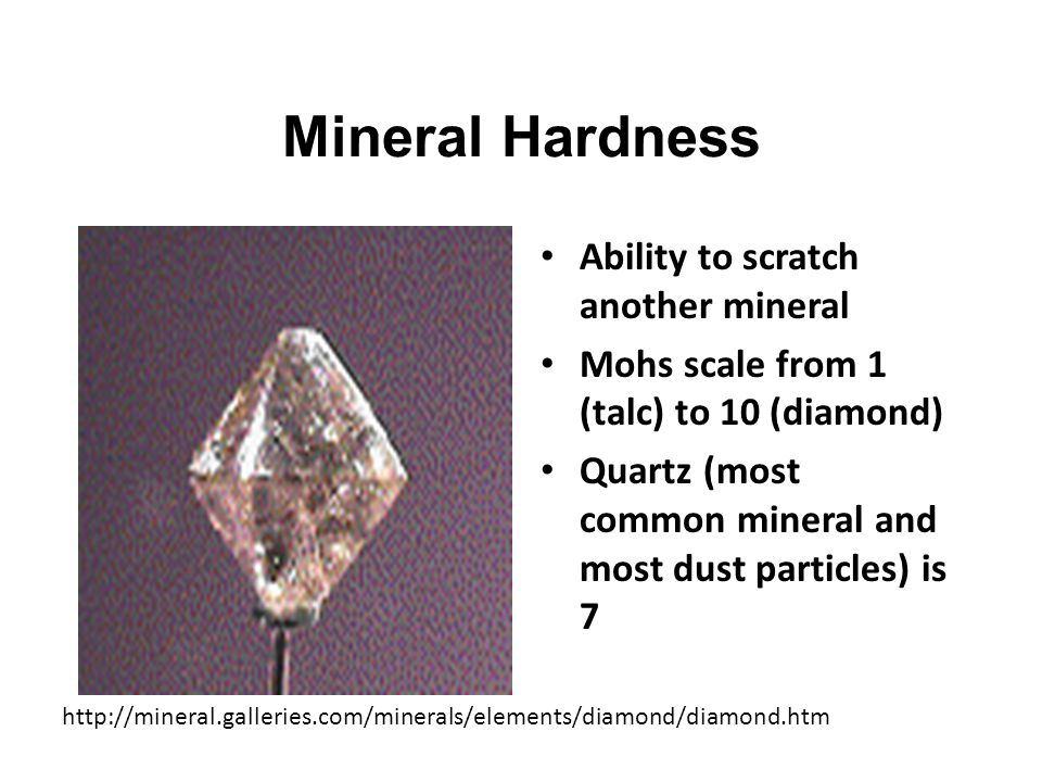 Minerals are identified by their key characteristics hardness crystal shape (form) luster color streak cleavage/fracture density (specific gravity) special properties --reaction to acid --fluorescence --salty taste --magnetism