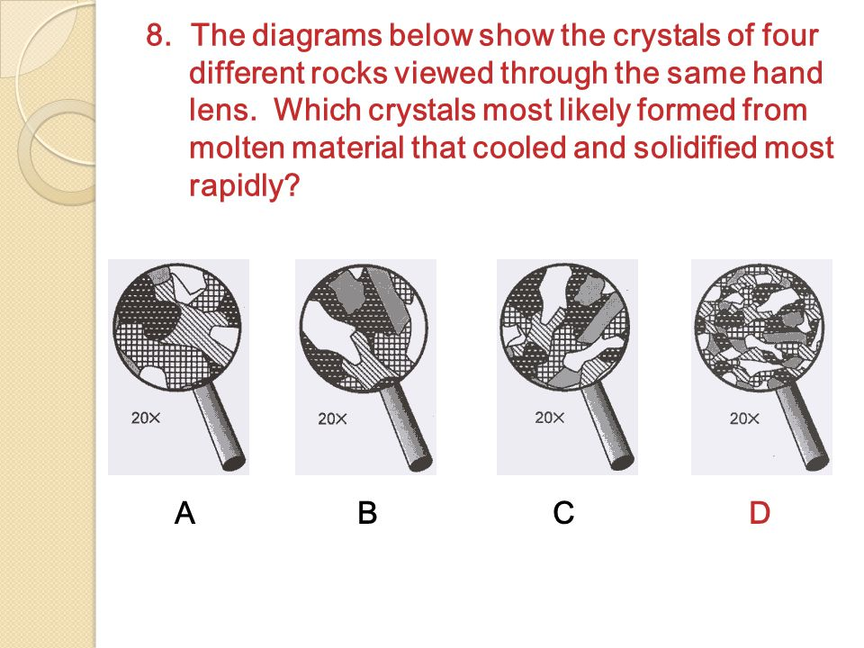 8. The diagrams below show the crystals of four different rocks viewed through the same hand lens. Which crystals most likely formed from molten mater