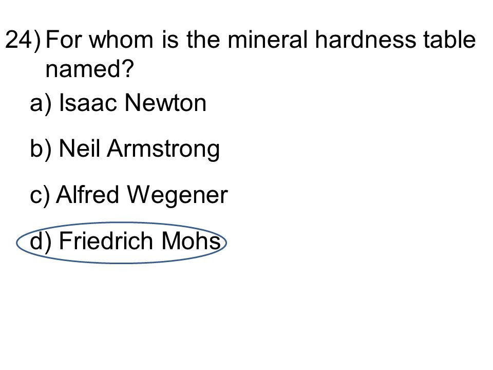 24)For whom is the mineral hardness table named.
