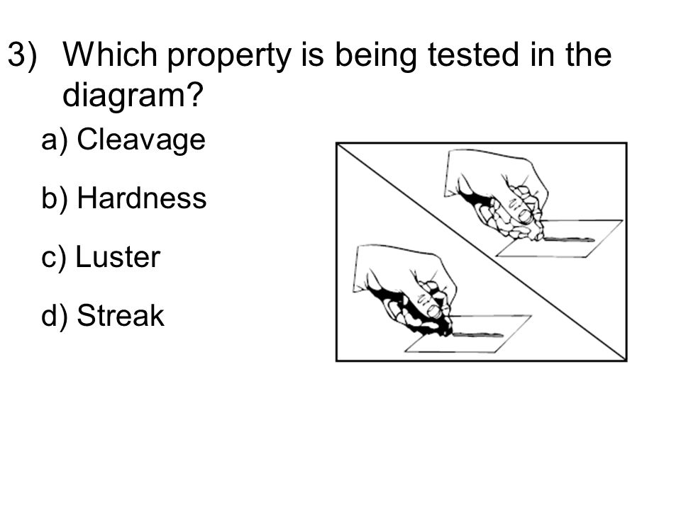 3)Which property is being tested in the diagram a) Cleavage b) Hardness c) Luster d) Streak