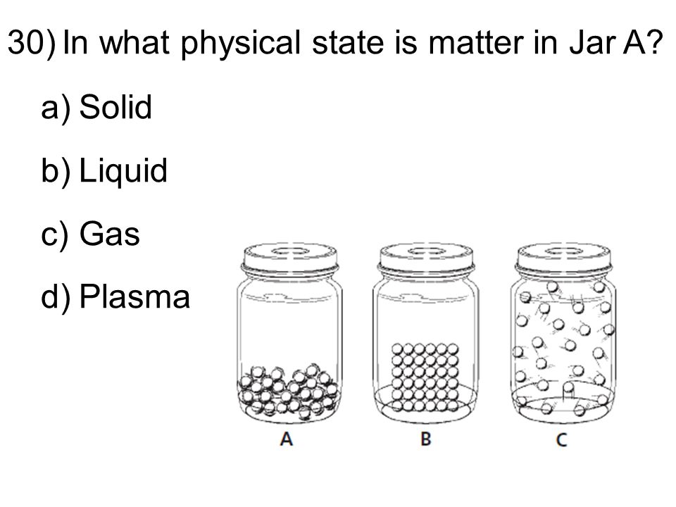 30)In what physical state is matter in Jar A a)Solid b)Liquid c)Gas d)Plasma