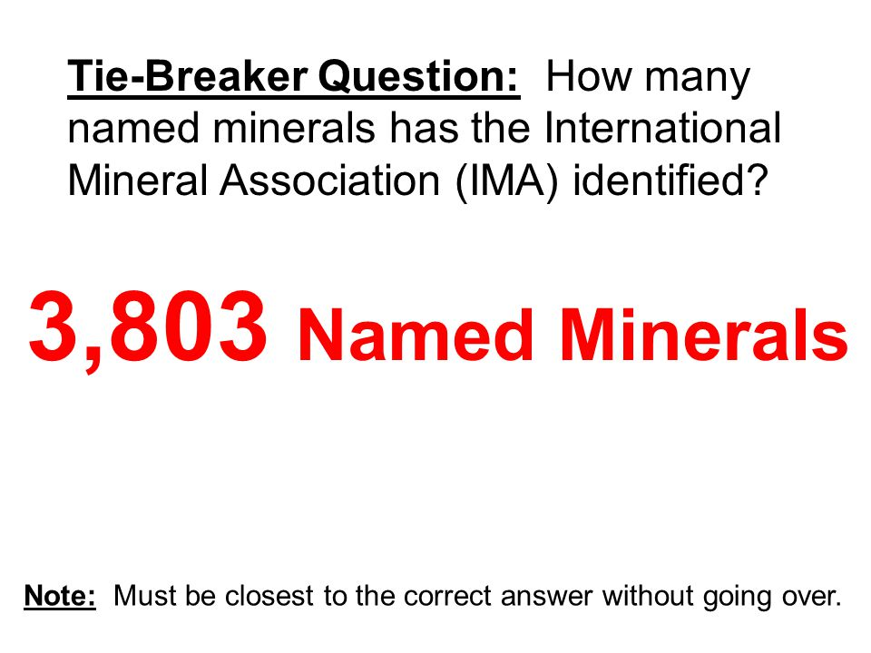 3,803 Named Minerals Tie-Breaker Question: How many named minerals has the International Mineral Association (IMA) identified
