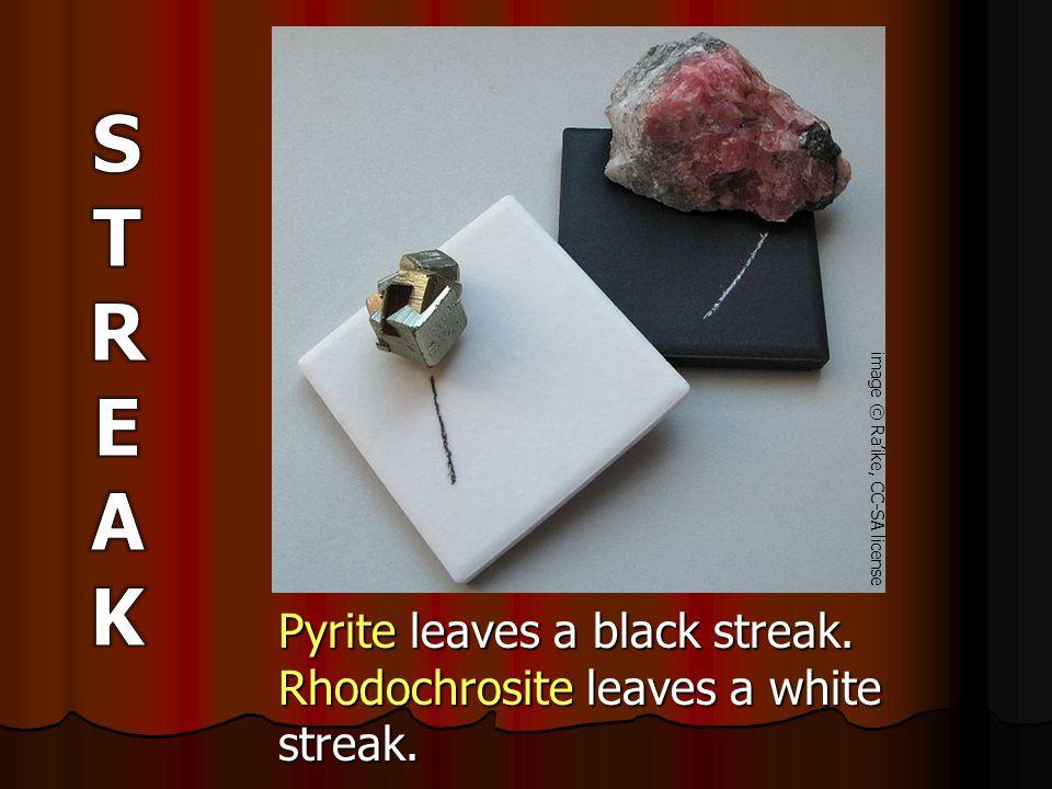 Pyrite leaves a black streak. Rhodochrosite leaves a white streak. image © Ra'ike, CC-SA license