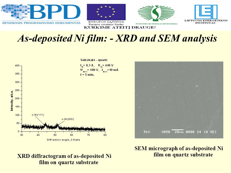 As-deposited Ni film: - XRD and SEM analysis XRD diffractogram of as-deposited Ni film on quartz substrate SEM micrograph of as-deposited Ni film on quartz substrate