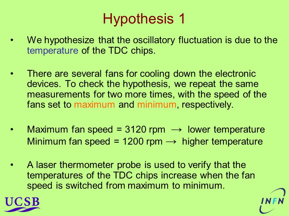 Hypothesis 1 We hypothesize that the oscillatory fluctuation is due to the temperature of the TDC chips.