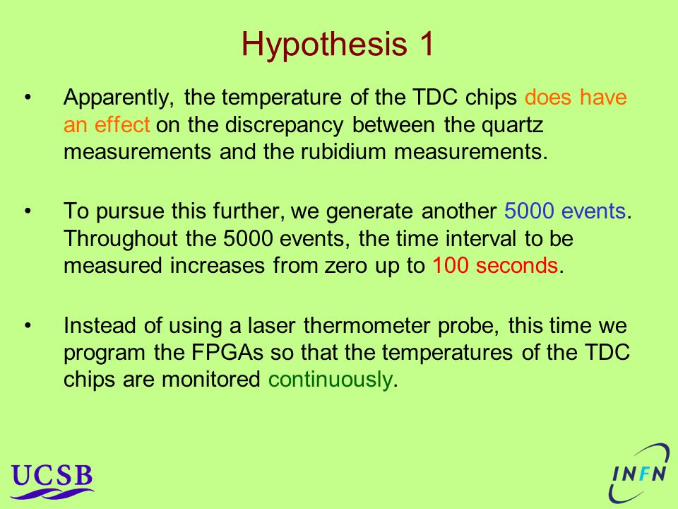 Hypothesis 1 Apparently, the temperature of the TDC chips does have an effect on the discrepancy between the quartz measurements and the rubidium measurements.