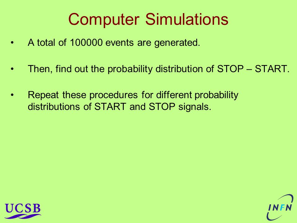 Computer Simulations A total of 100000 events are generated.