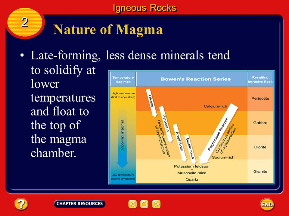 Igneous Rocks 2 2 As crystals solidify in cooling magma, they use up certain atoms. Nature of Magma High- temperature magmas tend to crystallize first