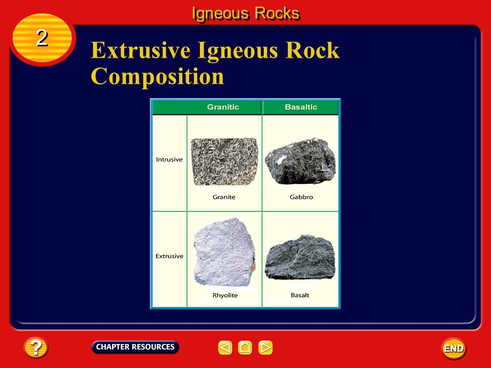 Igneous Rocks 2 2 A magma rich in silica (SiO 2 ) forms rhyolite if it cools rapidly.