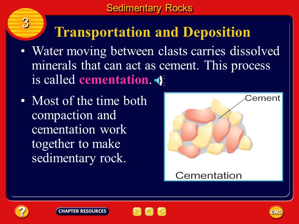 Transportation and Deposition When buried by more sediment deposited above them, clasts can be smashed together with such great force that they become