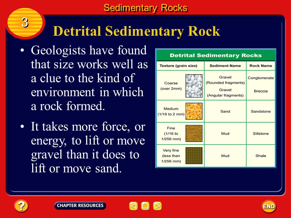 Detrital Sedimentary Rock Detritus is another name given to clasts. Sedimentary Rocks 3 3 Clasts can come in many sizes. In order of decreasing size,