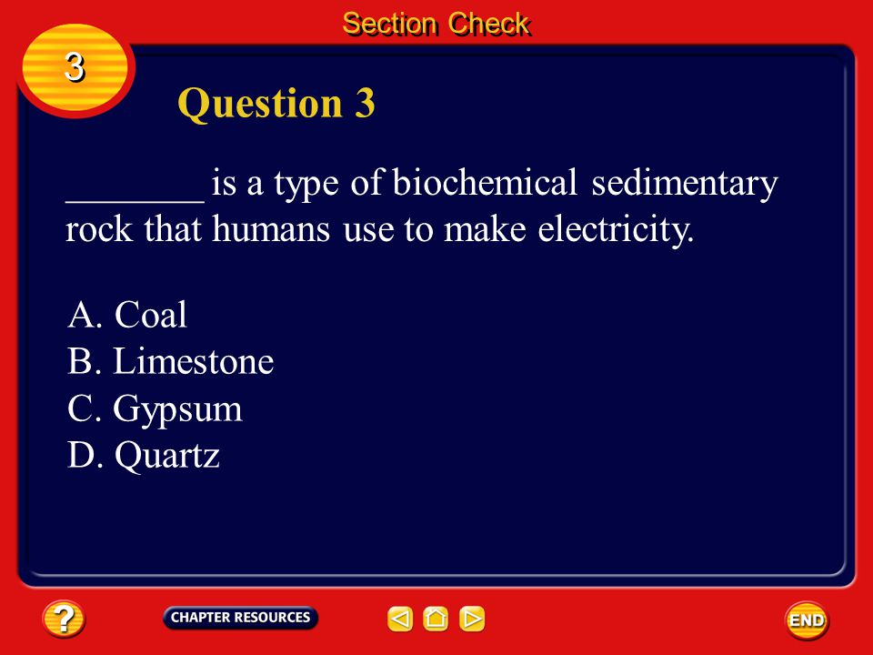 Section Check Answer The answer is C. The four types of clasts are gravel, sand, silt, and clay. Sediment can contain any of these types of clasts. 3