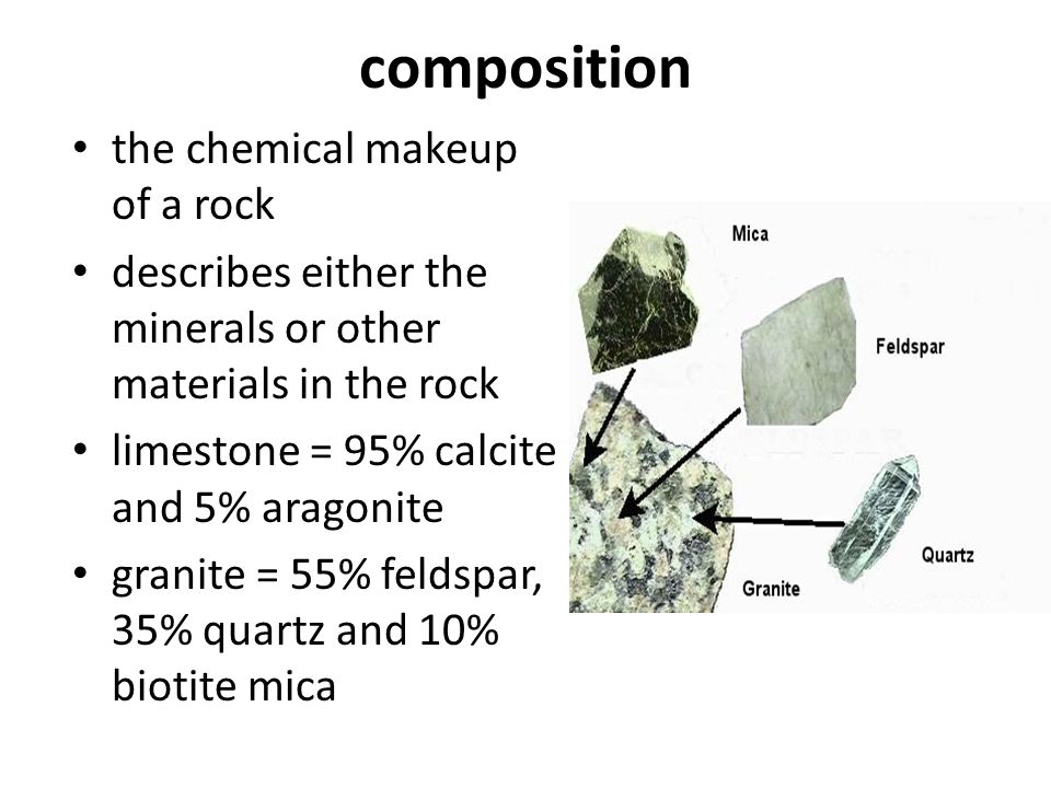composition the chemical makeup of a rock describes either the minerals or other materials in the rock limestone = 95% calcite and 5% aragonite granit