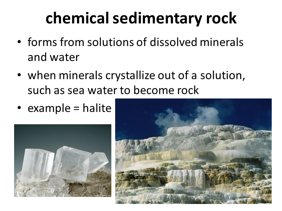 chemical sedimentary rock forms from solutions of dissolved minerals and water when minerals crystallize out of a solution, such as sea water to becom