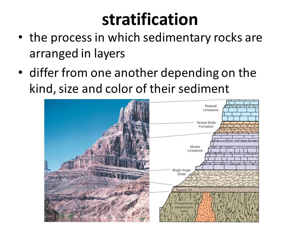 stratification the process in which sedimentary rocks are arranged in layers differ from one another depending on the kind, size and color of their se