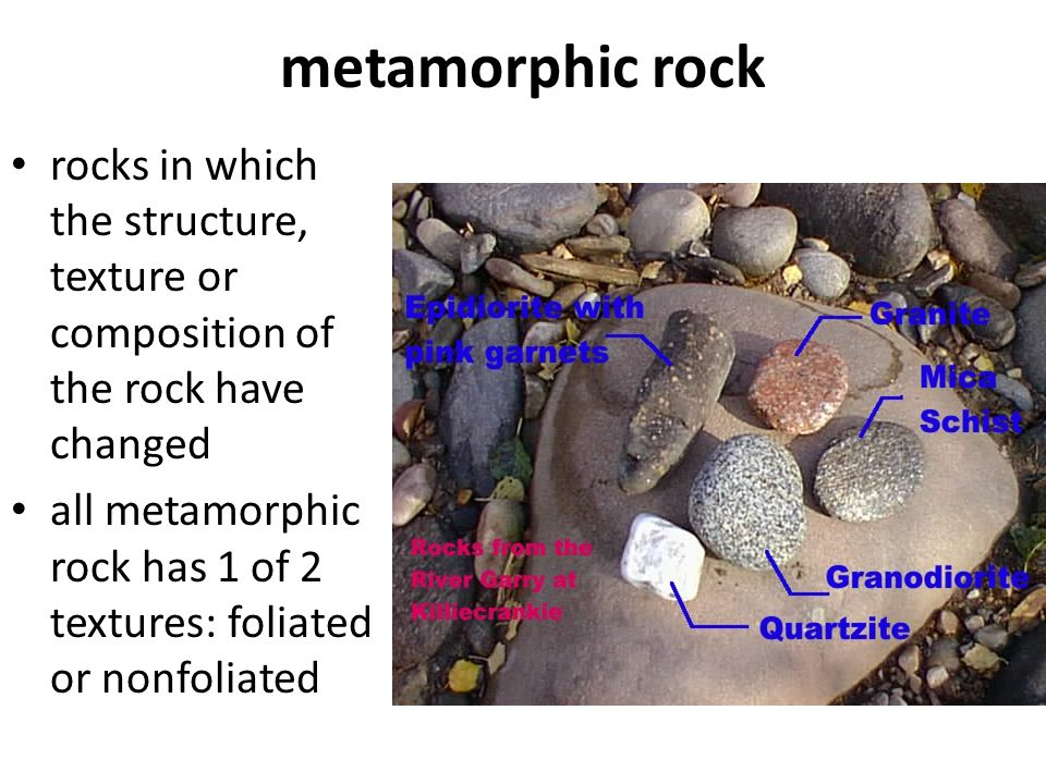 metamorphic rock rocks in which the structure, texture or composition of the rock have changed all metamorphic rock has 1 of 2 textures: foliated or n