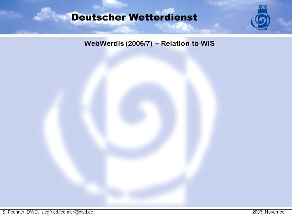 WebWerdis (2006/7) – Relation to WIS S. Fechner, DWD, siegfried.fechner@dwd.de 2006, November
