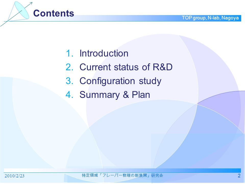 TOP group, N-lab, Nagoya 1. INTRODUCTION 2010/2/233 特定領域「フレーバー物理の新展開」研究会