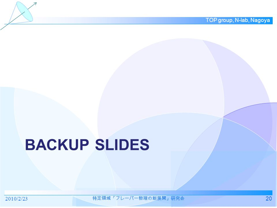 TOP group, N-lab, Nagoya BACKUP SLIDES 2010/2/2320 特定領域「フレーバー物理の新展開」研究会