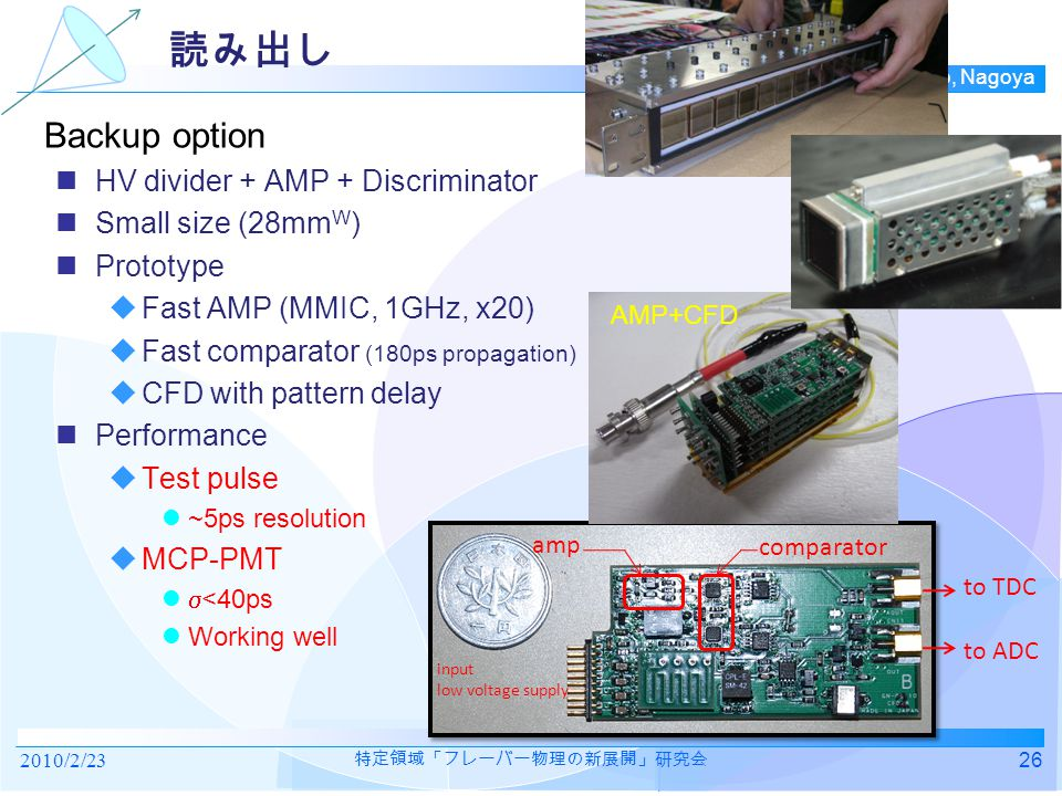 TOP group, N-lab, Nagoya 読み出し HV divider + AMP + Discriminator Small size (28mm W ) Prototype  Fast AMP (MMIC, 1GHz, x20)  Fast comparator (180ps propagation)  CFD with pattern delay Performance  Test pulse ~5ps resolution  MCP-PMT  <40ps Working well comparator amp input low voltage supply to TDC to ADC AMP+CFD Backup option 2010/2/2326 特定領域「フレーバー物理の新展開」研究会