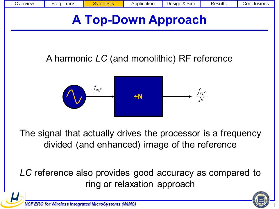 11 NSF ERC for Wireless Integrated MicroSystems (WIMS) A Top-Down Approach ÷N f ref f ref N A harmonic LC (and monolithic) RF reference The signal that actually drives the processor is a frequency divided (and enhanced) image of the reference LC reference also provides good accuracy as compared to ring or relaxation approach OverviewFreq.