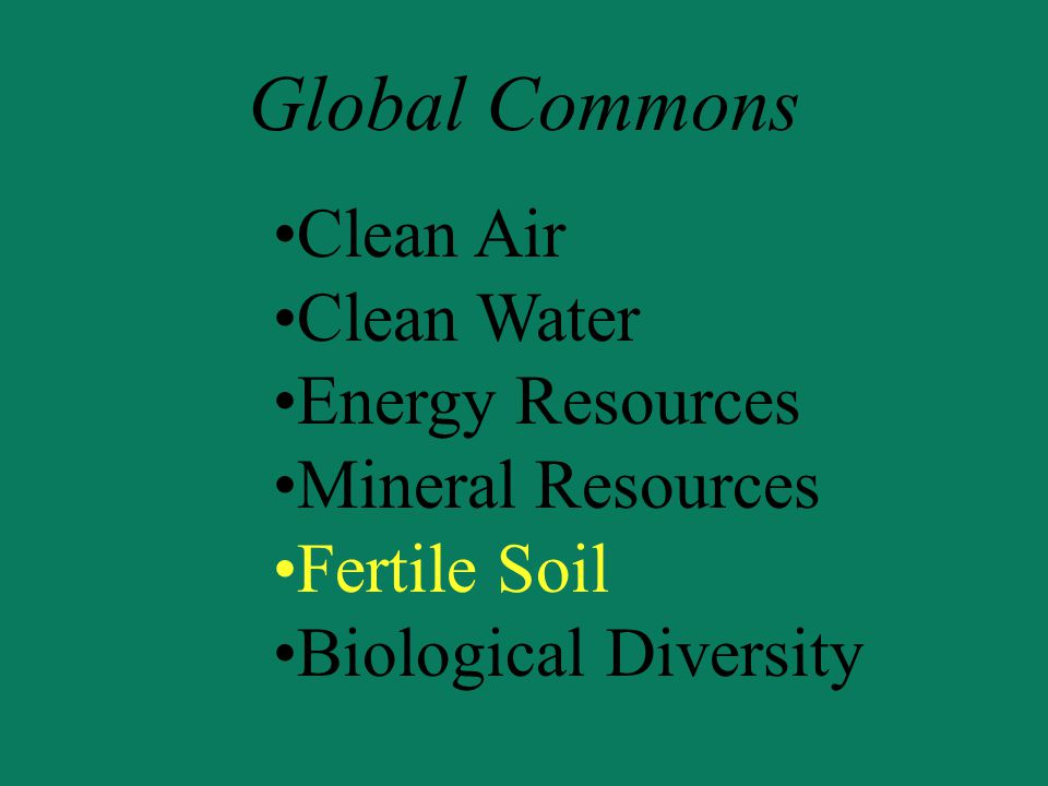 Global Commons Clean Air Clean Water Energy Resources Mineral Resources Fertile Soil Biological Diversity