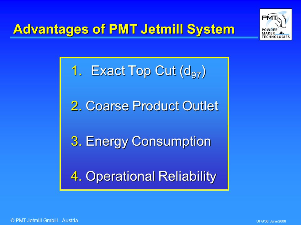© PMT-Jetmill GmbH - Austria UFG'06 June 2006 Advantages of PMT Jetmill System 1.Exact Top Cut (d 97 ) 2.