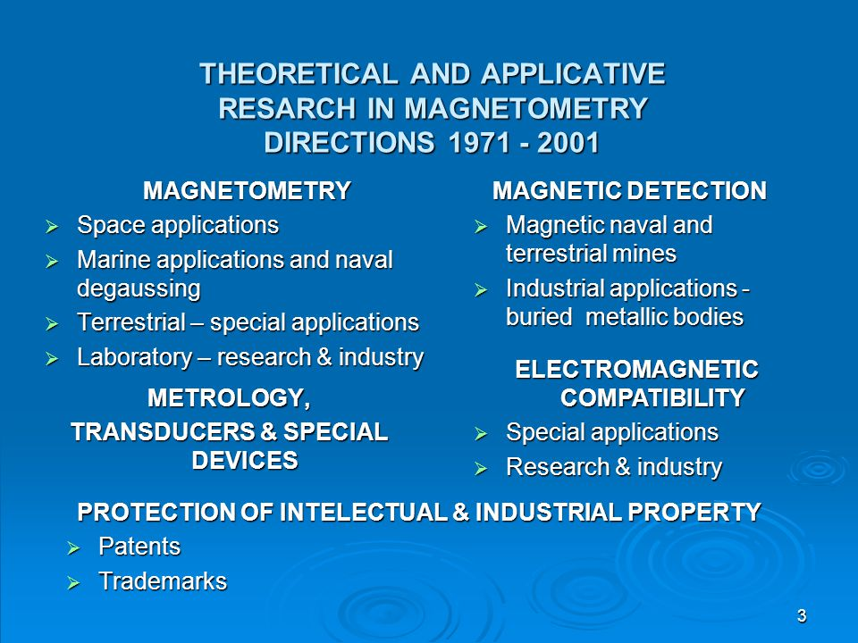 3 THEORETICAL AND APPLICATIVE RESARCH IN MAGNETOMETRY DIRECTIONS 1971 - 2001 MAGNETOMETRY  Space applications  Marine applications and naval degauss